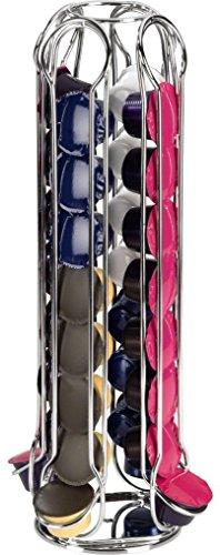 Xavax Kapselhalter (Kaffe-Kapselständer für Expressi und Tchibo, 32 Kapseln, drehbar, 360 Grad, Maße 39,6 x 16,0 x 16,0 cm, verchromt, Kapsel Ständer) silber
