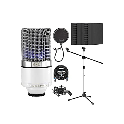 """MXL 990 Blizzard Cardioid Condenser Microphone for Vocals and Guitars Bundle with Blucoil 20-FT Balanced XLR Cable, Pop Filter, Adjustable Microphone Tripod Stand, and 4x 12"""" Acoustic Wedges"""