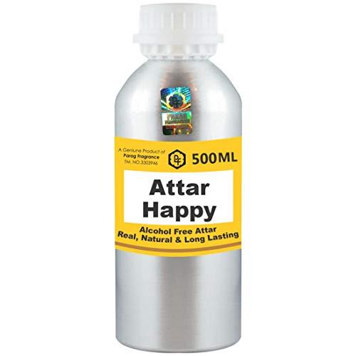 Parag Fragrances Happy Attar Lot de 500 ml Attar (sans alcool, longue durée Attar pour homme – femme et usage religieux) Worlds Best Attar | Itra | Huile parfumée | Parfum