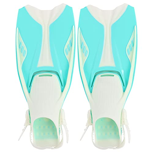 VGEBY Aletas de Snorkel, Verde Esmeralda TPR Aletas de Buceo Aletas de natación 1 par de Aletas de Snorkel Ajustables TPR talón Abierto Aletas de Buceo largas para Nadar Snorkel(M)
