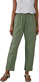 Sprifloral Womens Linen Pants High Waisted Wide Leg Drawstring Casual Loose Trousers with Pocket