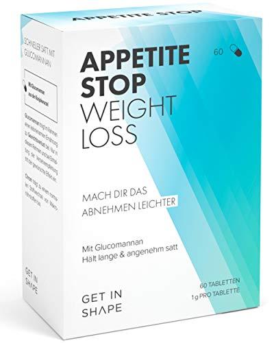 APPETITE STOP Glucomannan Kapseln hochdosiert - 3000mg Tagesdosis, natürlicher Apetitzügler zum Abnehmen, 100{c60ad229f6c35dd707fe8036c37c98b8fc80f9ca81d34b049f41e9c2c6f5627e} vegane Konjakwurzel Tabletten, 60 Stück | Get in Shape