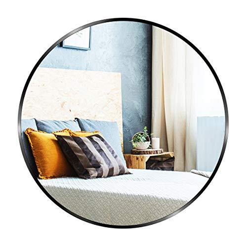 Espejo Redondo con Marco Negro, GROOFOO 60cm Espejo de Pared para Sala de Estar, Entrada, Dormitorio, Baño, Espejo de...