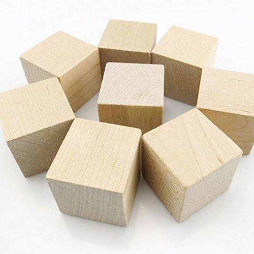 WINGONEER 12PCS Cubi di legno - blocchi di legno di 40 millimetri di legno per la fabbricazione di puzzle, i mestieri e progetti di fai da te