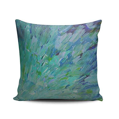 Cushion CaseBlue Teal Ocean Theme Peacock Feathers Mermaid Fins Waves Euro Square Cushion Case One Sided Print Elegant Pillowslip 45 * 45cm