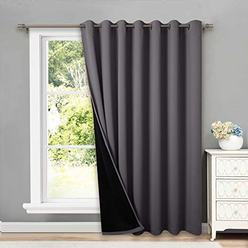 NICETOWN Total Shade Patio Door Curtain, Heavy-Duty Full Light Shading Sliding Door Drape Room Divider Curtain, Vertical Blinds for Window(1 Panels, 100 inches Wide x 84 inches Long, Gray