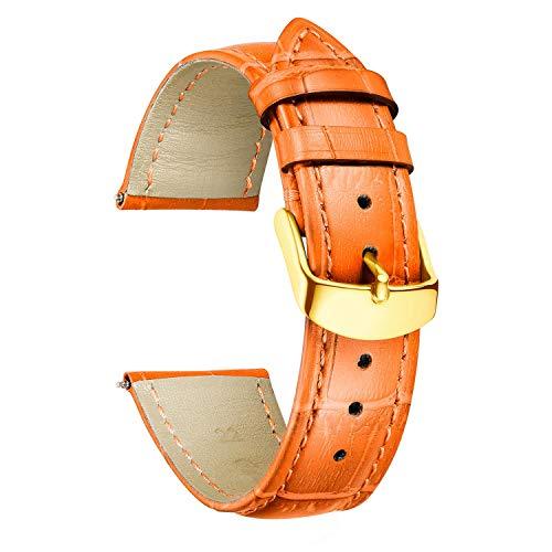 BINLUN 時計バンド 時計ベルト ストラップ 腕時計用 本革製 交換 バンド 革ベルト 10色 シンプル 軽量 ワニ柄 交換便利 防水 防汗 男女通用 取り道具付 プレゼント G-オレンジ 18mm