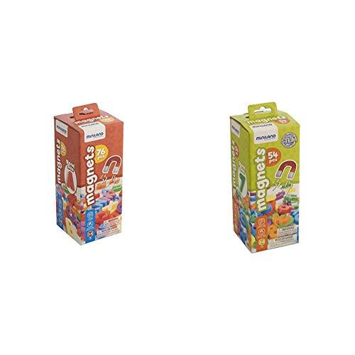 Miniland Letras magnéticas Mayúsculas, 76 Piezas (45312) + Números magnéticos 54 Piezas, Multicolor (45314) , Modelos/Colores Surtidos, 1 Unidad