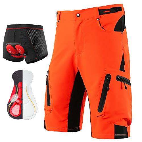 LXZH Bicicletas Mountain Bike Pantalones Cortos Hombre, Culotes Ciclismo MTB Pantalon Descenso, Verano Deporte Ropa de Ciclismo con Badana Gel Transpirable Secado Rápido,Naranja,L