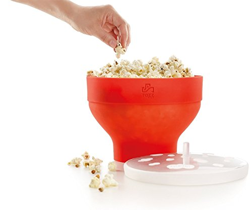 Tazzplus Microwave Popcorn Popper, Maker, Collapsible Bowl, Dishwasher Safe, Red Silicone.