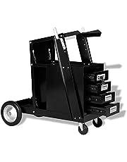Werkplaatswagen lasapparaat Mig Tig met 4 legplanken, geïntegreerde vergrendeling tot 70 kg, 73,5 x 42 x 72 cm