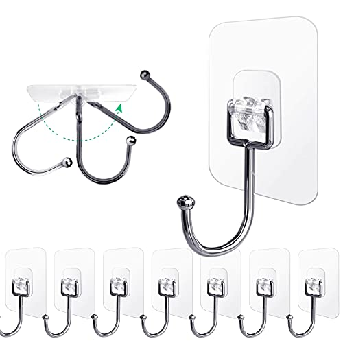 Ayssny Adhesive Hooks Utility Hooks 44lb Max, Large Adhesive Hooks Heavy Duty, Waterproof Sticky Hooks Wall Hooks for Hanging Coat, Towel and Kitchen Bathroom Products