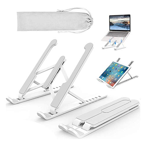 Portable Laptop Stand 6-Level Adjustable Notebook Riser Mount With Carry Bag Foldable Ventilated Laptop Holder For 10-15.6 Inch Tablet Notebook Cellphone (Color : White)