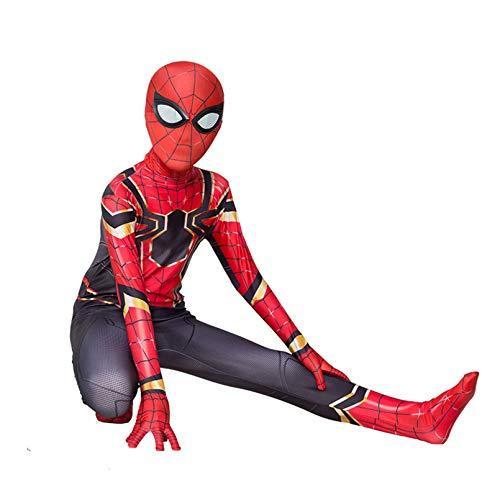 Disfraz de Spiderman para cosplay de Spiderman Iron Man Superhroe Halloween Carnaval Spider-Man Mono de mscaras, Spandex/Lycra Unisex Adultos Nios (nios L (130 cm), Hombre de hierro araa