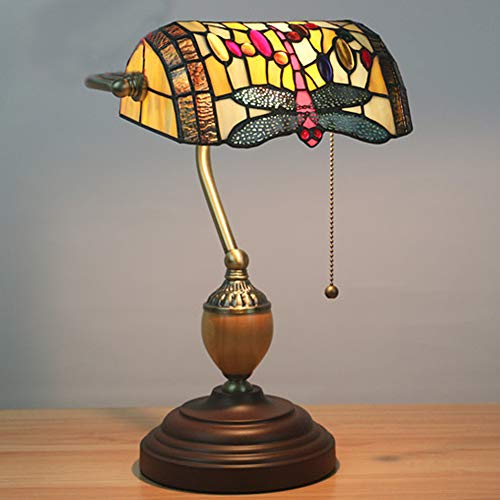 GUOGEGE Tiffany banqueros lámpara de Mesa, Barroco de la libélula Banco luz del Escritorio de la Vendimia del vitral de Pantalla, para mesita de Noche Salón Dormitorio Oficina, YF028