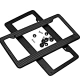 Fornateu 1 Pair Universal Black Carbon Fiber Printed Style Durable ABS Front/Rear License