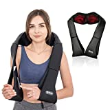 Aront Neck Back Shoulder Massager with Heat-Electric Shiatsu Shoulder Massagers with Deep Tissue Kneading Massage for Muscles Pain Relief,Use at Home,Car,Office-Gifts for Xmas
