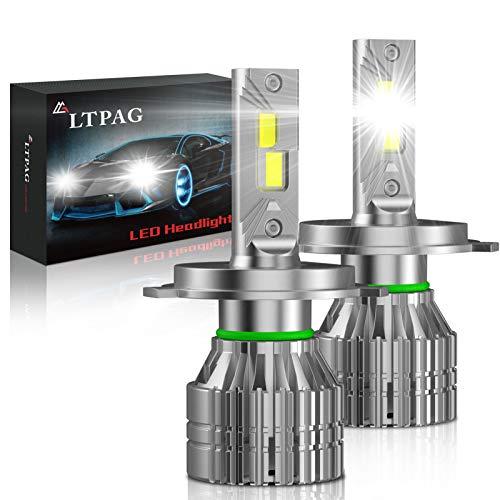 H4 LED Lampadine per Auto, LTPAG 100W Lampadine H4 LED 16000LM Kit Lampada Sostituzione per Alogena Lampade e Xenon Luci, CSP Chips Fari Abbaglianti e Anabbaglianti per Auto, 12V-24V 6000K Bianco