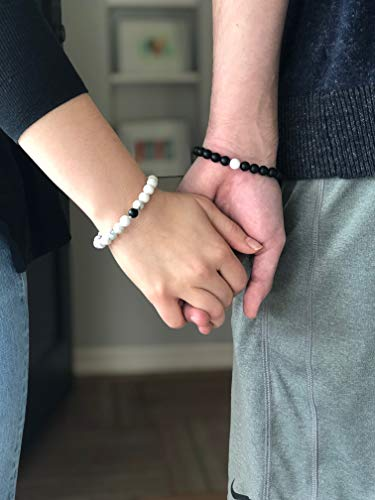 Long Distance Relationships Couples Bracelets - A Reminder of Love and Strength During Time and Distance Apart (2 Piece Set) Couples Gifts