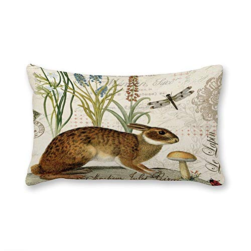 Decorative Lumbar Pillow Covers Cotton Modern Vintage French Rabbit in The Garden Throw Pillow Covers 12x20 Inch for Sofa