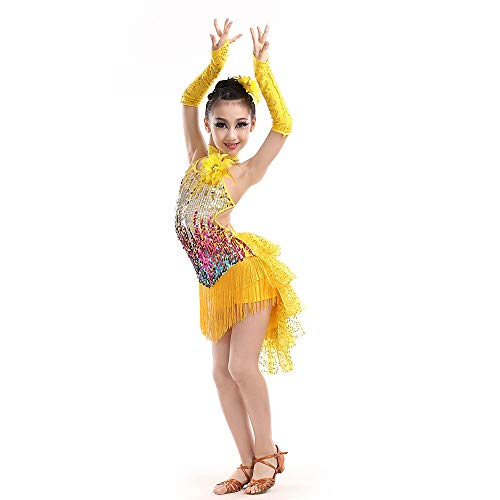 Vestido de baile latino para niñas Niños Niñas Trajes Sin mangas Sin espalda Borlas Rumba Lentejuelas Baile latino Salsa Salón de baile Ropa de baile Competencia Trajes de baile para niños niñas