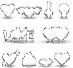 10 Pieces Valentine Cookie Cutter Valentine's Day Heart Shaped Cookie Cutter Valentine Biscuit Molds Stainless Steel Cutter Molds for Valentine Day Party Supply