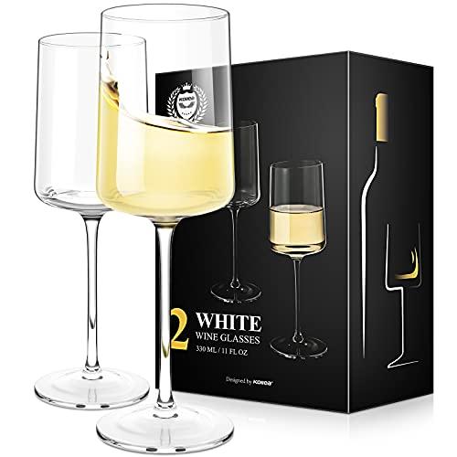 Kollea Bicchieri Calice Vino Bianco Set di 2, Cristallo Calici da Vino Bianco Soffiati a Mano, Bicchieri da Vino Bianchi Quadrati Moderni, Regali per Donne, Uomini, Matrimoni, Anniversari - 330ML