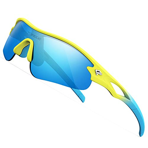 TOREGE Kids Sports Polarized Sunglasses for Junior Boys Girls Age 3-9 Grilamid TR90 Flexible Frame Glasses for Youth Polarized UV Protection TR22 REMEX (Matte Yellow&Blue&Blue Lens)