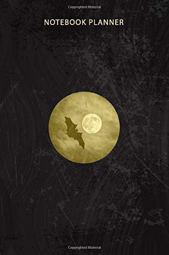 Notebook Planner Cool Night Bat Flying Bird Full Moon Retro: 6x9 inch, Homework, Appointment, Tax, Pretty, Work List, Over 100 Pages, Goal