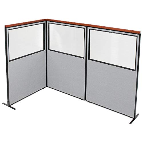 Sale!! 48-1/4W x 73-1/2H Deluxe Freestanding 3-Panel Corner Divider with Partial Window, Gray