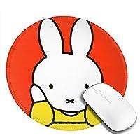 Cx商業® Miffy ミッフィー マウスパッド マウスマット 丸型 円形 20*20*0.3cm ミニ マルチカラー オフィス用 ノンスリップ 滑り止め 耐久性が良い 防水 汚れにくい 掃除しやすい ゲーミングマウスパッド ノートパソコン コンピューター キーボード パターンマウスパッド デスクトップマウスパッド