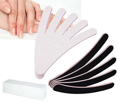 10 Stück Premium Nagelfeilen, Nageldesign gerade gebogen Feilenset Doppelseitige fein & grob Nail File
