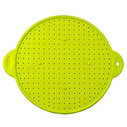 Exanko Protector de Salpicaduras de Silicona MultifuncióN Cubierta de la SartéN Tapa del TazóN TapóN de Derrames Olla Tamiz de Salpicaduras Colador Verde
