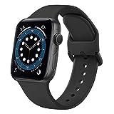 Demark Kompatibel mit Apple Watch Armband 38mm 42mm 40mm 44mm, Weiche Silikon Ersatz Armband Kompatibel mit iWatch Series SE, 6, 5, 4, 3, 2, 1 (Schwarz, 38mm/40mm-S/M)