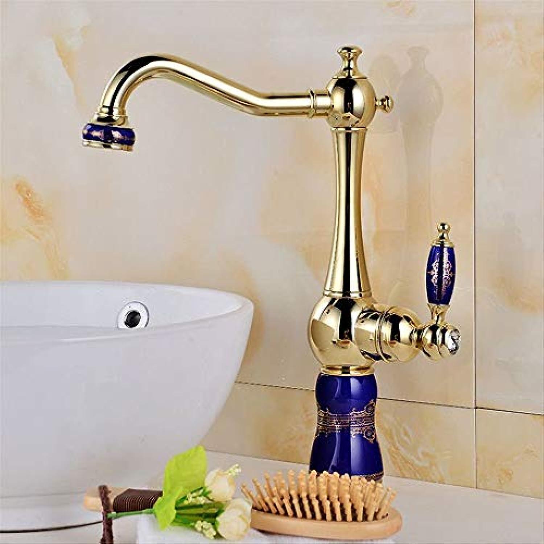 WMING Home Waschbecken Mischbatterie Badezimmer Küchenbecken Wasserhahn Dicht Wasserdicht Antike Waschbecken Waschbecken Und Kalt Goldene Armaturen (Farbe   A)