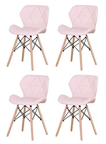 JIASEN - Juego de 4 sillas de comedor tapizadas de poliuretano, estilo moderno, sillas de cuero para sala de estar, comedor y cocina (rosa)