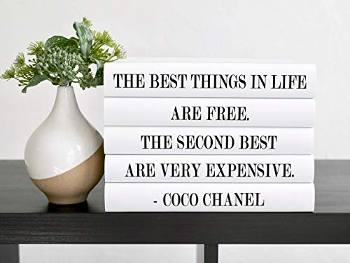 The Best Things in Life Fashion Designer Decorative Quote Books, Decor for Shelves and Coffee Table, Set of 5
