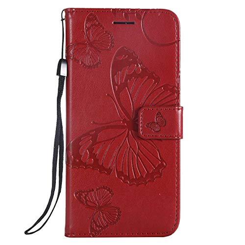 DENDICO Cover Huawei Y5 2018 / Honor 7S, Pelle Portafoglio Custodia per Huawei Y5 2018 / Honor 7S Custodia a Libro con Funzione di appoggio e Porta Carte di Credito - Rosso