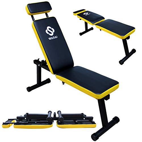 WASAI(ワサイ) トレーニングベンチ フラットベンチ インクラインベンチ【折りたたみ/コンパクト/収納便利】筋トレ 折り畳み ダンベルベンチ (MK600B)