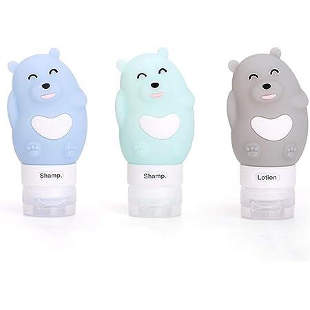 Chonor Bear Bottiglie da Viaggio in Silicone portatile, 3 X 80ml Contenitori con Riutilizzabili Comprimibili, per Shampoo, Balsamo, Crema, Lozione, Sacchetto Portaoggetti,ecc. Senza BPA