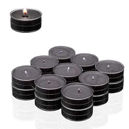 Smart Planet® kaarsen Ambiente theelichtjes -18er Flatpack geurtheelichtjes Black - theelicht zwart in transparante hoes - geurkaars