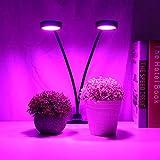 Leftwei Lámpara de Planta LED de Doble Cabezal, Cabezal de Carga USB, lámpara de Planta LED de 18W, FX-009G-2 Clip de Cultivo para pecera, Mascotas, Animales, Acuario