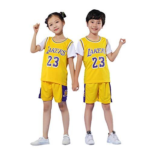 Playeras de baloncesto Lakers James #23 Set para niños y niñas, pantalones cortos deportivos para niños, trajes de verano, ropa de entrenamiento de secado rápido, 123, amarillo, XXL