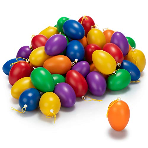 com-four® 60x Ostereier zum Aufhängen - Osterdeko in unterschiedlichen Pastellfarben - Deko Ostereier - Größe: 6 cm (Set1 - bunt 6cm - 60 Stück)