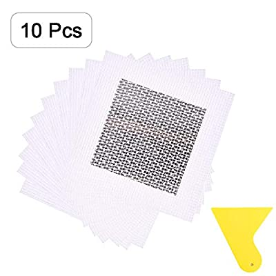 Alanfox 4 x 4 Inch Aluminum Wall Repair Patch Self Adhesive, Heavy Duty Dry Wall Hole Repair Patch with Scraper, Screen Patch Repair for Drywall Plasterboard(10 Pieces + 1Pack Scraper)