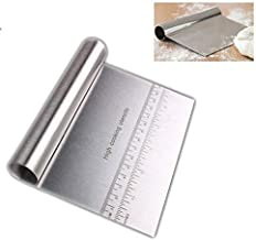 Pro Dough Pastry Scraper/Cutter/Chopper Stainless Steel Mirror Polished Good Grips with Measuring Scale Multipurpose- Cake, Pizza Cutter - Pastry Bread Separator Scale Knife