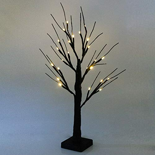 LED Birch Tree Light 24 LED Twig Tree with Lights up Decorative Branches Tree Tabletop Tree Light for for Indoor Christmas Wedding Party Home Bedroon Fall Decoration (Black Warm White)