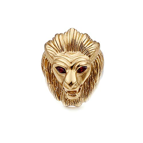 AnazoZ Anillo Cabeza de León Anillo Oro Anillos de Titanio Hombre Anillos Talla 17-27