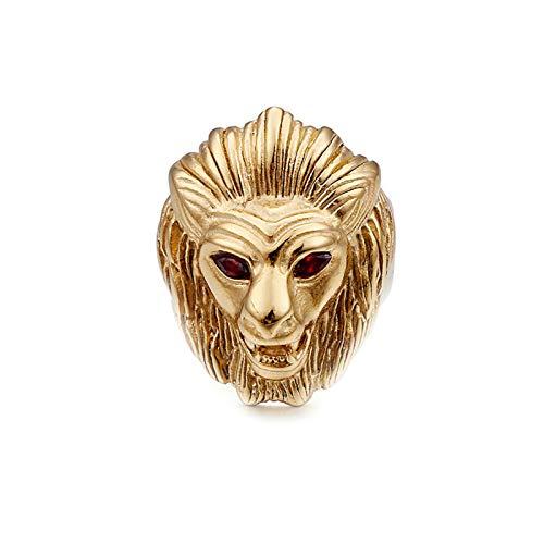 AnazoZ Anillo Cabeza de León Anillo Oro Anillos de Titanio Hombre Anillos Talla 25