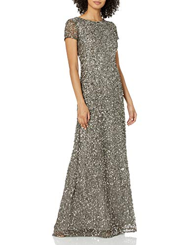 Adrianna Papell Women's Short Sleeve All Over Sequin Gown, Lead, 6